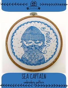 SEA CAPTAIN pdf embroidery pattern, sailor design, embroidery design, nautical theme, salty sailor man, beard man with pipe, by cozyblue by cozyblue on Etsy https://www.etsy.com/listing/181885660/sea-captain-pdf-embroidery-pattern