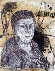 piece with emulsion over newspaper, monoprint with black biro, coffee, ink and some acetone printing. Biro, Art Sketchbook, Art School, Newspaper, Mixed Media, Acetone, Fine Art, Statue, A3