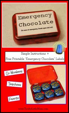 Emergency Chocolate gift tutorial + free printable label. Encourage co-workers, teachers or friends!