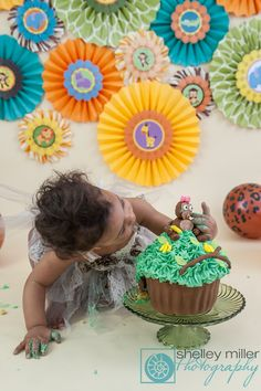 Adorable jungle themed Birthday Cake Smash