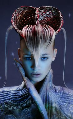 Avant garde hair by Skyler McDonald. Make Up by Irena Rogers. Photographer Alessandro Cecchini.