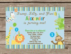 Sweet Safari First (1st) Birthday Invite Printable - Safari Theme