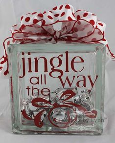 Jingle all the Way Decorative Glass Block - Red