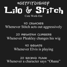 Try this Lilo & Stitch core work-out next time you are watching the movie to help tone up and flatten that belly! Disney Movie Workouts, Tv Show Workouts, Disney Workout, Fun Workouts, At Home Workouts, Volleyball Workouts, Toning Workouts, Workout Tips, Netflix Workout
