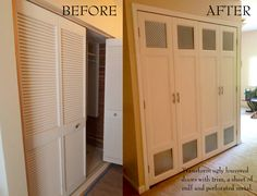 Glued and nailed base trim, mdf, and perforated metal to my ugly louvered bifold closet doors to give them a face lift.
