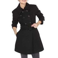 Alpine Swiss Keira Womens Black Wool Double Breasted Belted Trench Coat Large ** Be sure to check out this awesome product. Classic Trench Coat, Wool Trench Coat, Winter Mode, Double Breasted Coat, Black Wool, Vest Jacket, Coats For Women, Ladies Coats, Jackets