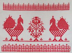 An old traditional embroidery usually seen at Karelian/orthodox cloths called… Russian Embroidery, Embroidery Sampler, Folk Embroidery, Embroidery Designs, Folklore, Cross Stitch Bird, Russian Art, Blackwork, Sewing Crafts