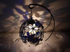 青いお花のランプ(まる)