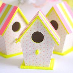 Easy DIY Neon & pastel birdhouses for baby shower decor - or Easter!