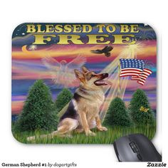 Blessed to be Free design with a German Shepherd shows the America flag, an angel in the clouds, and an eagle flying high in the sky.  This design is available on lots of other products too.  Thanks for looking!