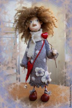 Купить Юна - феечка, ангелочек, домовушка, душевный подарок, душевные вещи, оригинальный подарок Wool Dolls, Clay Dolls, Felt Dolls, Homemade Dolls, Paper Mache Crafts, Needle Felting Tutorials, Sewing Dolls, Doll Tutorial, Soft Sculpture