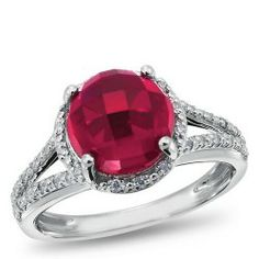 Sterling Silver, 1/8 ctw. Diamond and Lab-Created Ruby Gemstone Ring