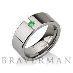 Custom Birthstone Green Emerald Tungsten Carbide by BravermanOren