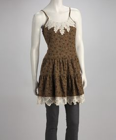 Take a look at this Beige Floral Crocheted Peasant Dress by Areve on #zulily today!