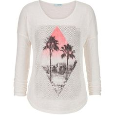 maurices Ethnic And Palm Tree Graphic Tee ($12) ❤ liked on Polyvore featuring tops, t-shirts, shirts, beige, scoop neck t shirt, white long sleeve tee, long sleeve t shirts, long sleeve tees and white graphic tees