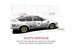 NEW YEAR CARD Alfa Romeo Alfetta GTV