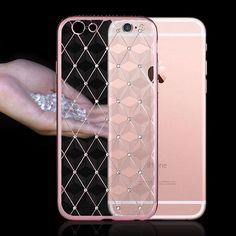 Luxury Bling Transparent Soft TPU Material With Diamond Mobile Phone Cases For Apple iphone 5/5s 6/6s 6/6s Plus Back Cover Bags