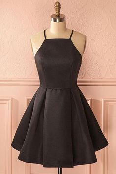 On Sale Excellent A-Line Homecoming Dresses, A-Line Square Neck Short Satin Black Homecoming Dress With Pleats Freshman Homecoming Dresses, Modest Homecoming Dresses, Hoco Dresses, Modest Dresses, Elegant Dresses, Graduation Dresses, Sexy Dresses, Dress Prom, Dress Wedding