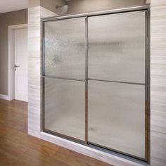 """Basco Deluxe 71.5"""" x 59"""" Framed Bypass Sliding Shower Door Trim Finish: Silver, Glass Type: Rain"""