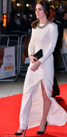 Daring: The gown by French designer Roland Mouret may have been long sleeved but it featured a thigh-high split