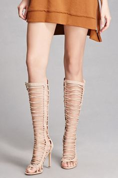 A pair of faux suede knee-high boots featuring a strappy gladiator design, zippered back, open toe, and stiletto heels. This is an independent brand and not a Forever 21 branded item.