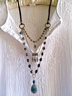 labradorite delight! triple strand gemstone necklace blue gray beaded silver chain om charm leather sundance style large pendant boho long by sweetassjewelry on Etsy