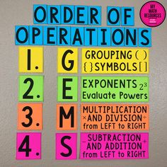 My Math Resources - GEMS Order of Operations Bulletin Board Pieces, Anchor Chart Pieces, or Poster