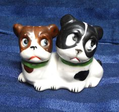 Vintage Dog Figurine, Heads are Salt & Pepper Shakers! Bulldog, Boston Terrier