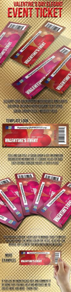Hello, this is Valentines day elegant TICKET template. Features:Format (72 inches) 300 dpi / CMYK (Bleeds 0,25) 1 style already included Photoshop Source FilesAll Paragraph/Objects and Layers organised and grouped Strong, Clean Modern Layout Included Files:1 Photoshop Files .PSD (in Layers)1 Extensive Help File .PDF Fonts Used (only free fonts us