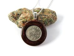 Wooden Jewelry Pendant Coin Necklace Eco Friendly by Hendywood, $25.00