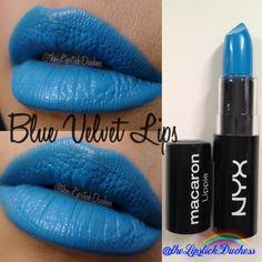 Blue Velvet Lips Nyx Macaron, Macarons, Blue Lipstick, Beauty Corner, Nyx Cosmetics, Blue Velvet, Aqua Blue, Swatch, Nail Polish