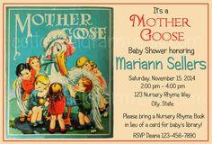 Vintage Nursery Rhyme Mother Goose Baby Shower Invitation from Etsy.