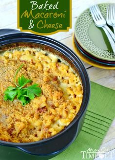 Baked Macaroni and Cheese with Bacon and Caramelized Onions   MomOnTimeout.com #sponsored