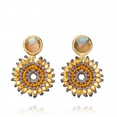 I love this 18 carat yellow gold vermeil labradorite grey and amber woven drop earrings from Astley Clarke.