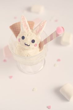 Rabbit ice cream for easter day / glace lapin pour pâques