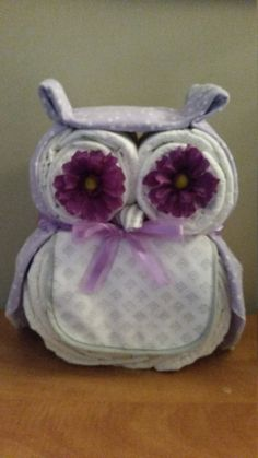 Owl Diaper Cake by ReginesBoutique on Etsy