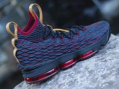 cheaper c5e05 1f474 LeBron James debuted the Nike LeBron 15 Cavs colorway during the team s  Media Day. This Nike LeBron 15 comes dressed in a Navy upper with Wine Red  accents