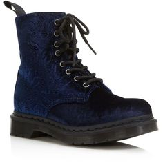 Dr. Martens Brocade Velvet Combat Booties (1.744.035 IDR) ❤ liked on Polyvore featuring shoes, boots, ankle booties, navy, navy blue booties, combat booties, army boots, laced booties and lace up combat boots