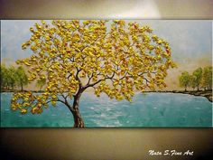 Fall Tree Painting Turquoise Lake Painting Autumn Tree Art