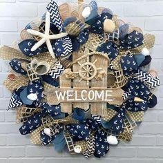 Summer Wreath,Beach Wreath, Coastal Wreath, Nautical Wreath, Burlap Wreath, , Farmhouse Wreath, Front Door Wreath, Welcome wreath, Spring Coastal Wreath, Seashell Wreath, Nautical Wreath, Seashell Crafts, Beach Crafts, Summer Crafts, Anchor Wreath, Wooden Welcome Signs, Diy Wreath