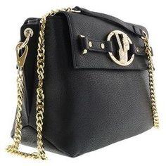 Versace Ee1vqbbj1 E899 Dual Compartment Shoulder Bag- Faux Leather Black Shoulder Bag.