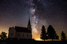 """Faith by Aaron J. Groen on 500px thk::::::""""Faith"""" --- 30 second exposure from faith time-lapse. Milky Way stars shine bright over this old country church in eastern South Dakota."""