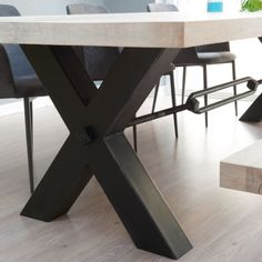 f80da44f62a From Stock  Rustik Wood   Metal Dining Table