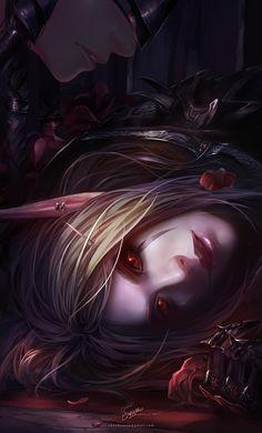 World of Warcraft fanart- a fallen blood elf.