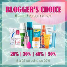 Blogger's Choice #feelthesummer Chegou aquela semana fantástica em que os nossos produtos preferidos estão com descontos entre os 20% e os 50%!  Até 22 de julho de 2016 Boa compras!