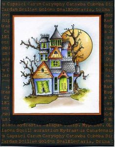 Art Impressions Rubber Stamps: Ai TryFolds: Haunted House TF (Sku#4688) ... handmade card. moon, Halloween, tree, scary, spooky
