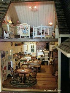 Ash Tree Cottage: Kathleen's Newer Bigger and Better Dollhouse Vitrine Miniature, Miniature Rooms, Miniature Kitchen, Miniature Houses, Miniature Furniture, Dollhouse Furniture, Barbie Furniture, Dollhouse Interiors, Fairy Houses