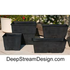 DeepStream's Rugged waterproof 100% recycled food safe LLDPE plastic liners with advanced drainage options and threaded ports, control drainage, and extend the life of your planters, promoting healthy plants. The tapered design makes them easy to replant, drain better, and economical to ship. Planter Liners, Plastic Planter, Replant, Safe Food, Planters, Ship, Healthy, Outdoor Decor, Easy
