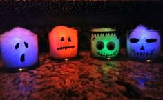 Bath and Body Works candle jars, cotton, glow Sticks and paint pen. Great way to recycle those glass containers. Great kid activity. They turned out really cute. Ghost, pumpkin, Frankenstein, and skeleton. Empty Candle Jars, Candle Containers, Glass Jars, Diy Halloween Decorations, Halloween Projects, Ghost Pumpkin, Glow Sticks, Diy Candles, Jar Crafts