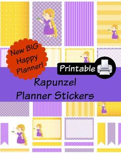 New BIG Happy Planner Rapunzel PDF PRINTABLE Planner Stickers Erin Condren Planner Filofax Plum Paper Decorating Kit Disney by WhimsicalWende on Etsy